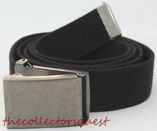NEW GUNMETAL FLIP TOP BUCKLE ADJUSTABLE BLACK CANVAS MILITARY WEB UNIFORM BELT