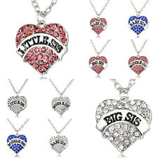 Family Bridal Women Crystal Heart Big Little Baby Sister Pendant Necklace Gifts