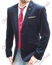 MENS VELVET NAVY BLUE JACKET BLAZER SPORT JACKET - QUALITY -SLIM FIT - ALL SIZES