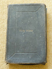 Antique Victorian 1872 Holy Bible Inscribed in 1873 + other writting in rear