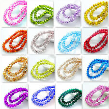 New Colors 100pcs Rondelle Faceted Crystal Glass Loose Spacer Beads  6mm