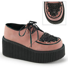 Demonia Creeper-216 Baby Pink Vegan Suede Platform Shoes - Gothic,Goth,Punk,Pink