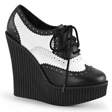Demonia Creeper-307 Black & White Wedge Shoes - Gothic,Goth,Punk,Black,White,Wed