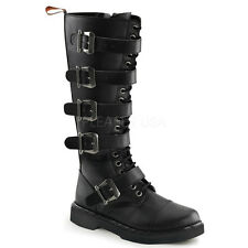 Demonia Defiant-420 Buckle Combat Boots - Gothic,Goth,Punk,Black,Boots,Buckle