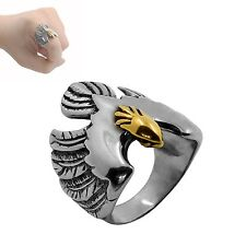 1PC Finger Ring Stainless Steel Gold Head Eagle Size 7-13 Hiphop Signet Ring