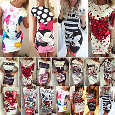 Womens Sexy Slim Pencil Tunic Dress Fashion Print Casual Evening Party Long Top