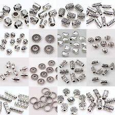Wholesale 50/100pcs DIY Silver Plated Loose Spacer Beads Charms Jewelry Making