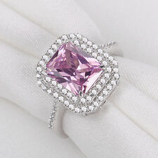 3.52 Ct Emerald Cut Pink Sapphire 925 Sterling Silver Gemstone Ring Size 6-9