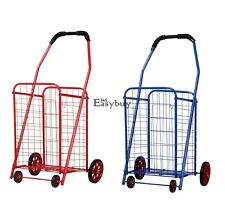 Lightweight 4 Wheels Folding Shopping Cart Laundry Basket Grocery Trolley EY6E