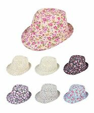 Ladies Spring Summer Fashion Floral Print Fedora Hats (H7-FlowerFedora)