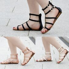 Womens Ladies Gladiator Flat Sandals Summer Beach Party Strappy Cut Out Size UK