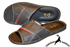 Mens Genuine Black leather Slippers Sandal Shoes Scuff Slide Handmade In Poland