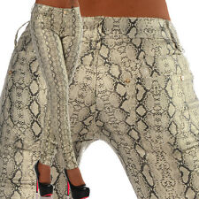 Sexy New Women's Beige Stretchy Jeans Trousers Skinny Wet Snake Look G 337