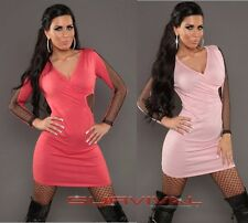 Womens Knit Mini Dress with Fishnet Sexy Club Wear Party Casual New Size 6-8-10