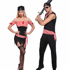 Mens Ladies Caribbean Pirate Wench Buccaneer Costume Fancy Dress