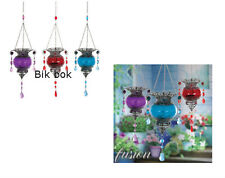 Morrocan Style Hanging Tealight Holder 3 Colours,  IRON & GLASS