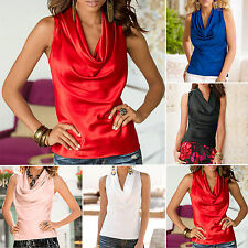Sexy Women Cowl Neck Vest Tops Blouse Summer Sleeveless Draped Wrap T-shirt Tank