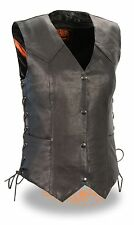 WOMEN'S MOTORCYCLE RIDER 4 SNAPS CLASSIC LEATHER VEST LIGHTWEIGHT COW BLACK NEW