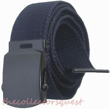 "NEW 1.5"" WIDE NAVY BLUE ADJUSTABLE CANVAS MILITARY WEB GOLF BELT BLACK BUCKLE"