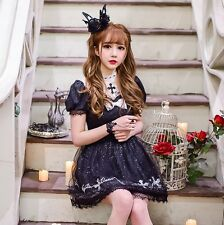Japanese Sweet Lolita Puff Sleeve Gothic Princess Cross Embroidery Dress Lace#16
