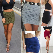 New Fashion Sexy Women Pleated High Waist Stretch Tight Slim Mini Skirt