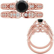 1 Ct Black Diamond Designer Wedding Promise Ladies Ring + Band 14K Rose Gold