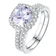 2.50 Ct Halo White CZ 925 Sterling Silver Wedding Engagement Ring Set Size 5-10