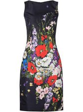 $2290 New Oscar de la Renta Navy Blue Floral Bouquet-Print SILK FAILLE DRESS 0 2