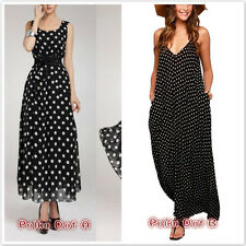 New Fashion Sundress Women Summer Polka Dot Chiffon Sleeveless Loose Maxi Dress