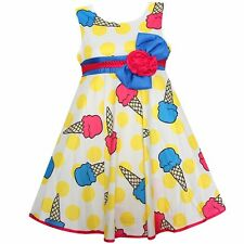 Girls Dress Ice Cream Dot Flower Party Pageant Birthday Kids Clothes Size  4-12
