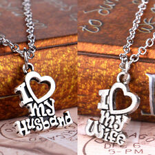 Charm Fashion Party I Love My Husband & Wife Heart Words Pendant Necklace Gifts