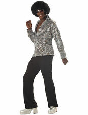 Mens Groovy Disco 70s Shirt w/ Wig Fancy Dress Costume Accessory