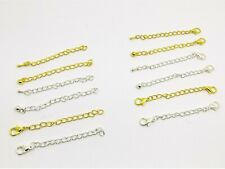 2 or 4 x NECKLACE Curb CHAIN EXTENDER Extension w/TEARDROP End or Lobster CLASP