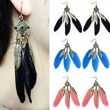 1pair Fashion Lady Feather Turquoise Dangle Earring Beach Boho Party Jewelry New