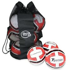 10 x WHITE/RED PRECISION SANTOS TRAINING FOOTBALL + BALL BAG - SIZES 3, 4 & 5