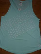 "VICTORIAS SECRET PINK  ""BURGER QUEEN"" TANKTOP MINT TEESHIRT NWT"