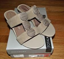 NEW in Box Rockport Womens Total Motion Stone Slide Wedge Sandal Adiprene Adidas