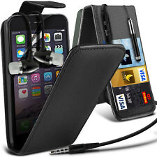 Top Flip Quality PU Leather Phone Case Cover+Stereo Headphones for Apple