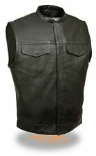 MEN'S  MOTORCYCLE SON OF ANARCHY SNAP COLLAR LEATHER VEST W/2 CHEST & GUN POCKET