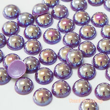 Fantasy Dark Purple AB (2mm - 10mm) Flatback Half Pearl Round Scrapbook Nail