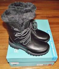 NEW in Box Rockport Womens Finna Mid Black Leather Faux Fur Snow Boots $195