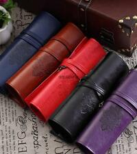 Vintage Roll PU Leather Makeup Cosmetic Pouch Pen Pencil Brush Bag Wallet Case