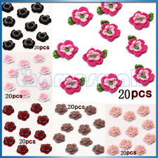 20pcs Handmade Crochet Flower Appliques Sewing Craft Tote Bag Hat Clothes Decor