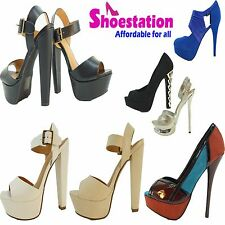 Womens Fashion Open Toe Pumps Ankle Straps Sandals High Heel New Shoes Size5-10