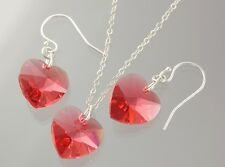 Padparadscha Heart Necklace & Earrings Set- sterling silver chain & ear hooks