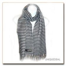 """New D&Y Mini  Houndstooth Winter """" SOFTER THAN CASHMERE?"""" Scarf -Black/White"""
