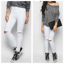 NEW WOMENS LADIES WHITE JEGGINGS LOOK RIPPED KNEE CUT HIGH WAISTED SKINNY JEANS
