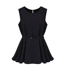 Black Summer Casual Vest Chiffon Slim Short Pleated Dress Tops With Belt S F8