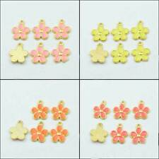 Pretty Enamel Gold Tone Little Flower Charms Pendants DIY Jewelry Making 16x13mm