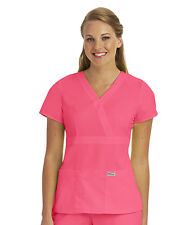 Greys Anatomy 4153 Papaya Pink Junior Fit  3 Pocket Mock Wrap Scrub Top